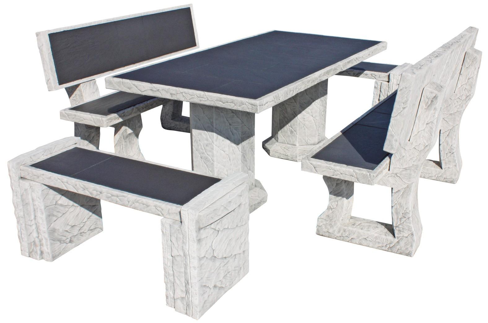 Mesa de jardin de piedra con azulejos mirage vulcan gris - Mesas con azulejos ...