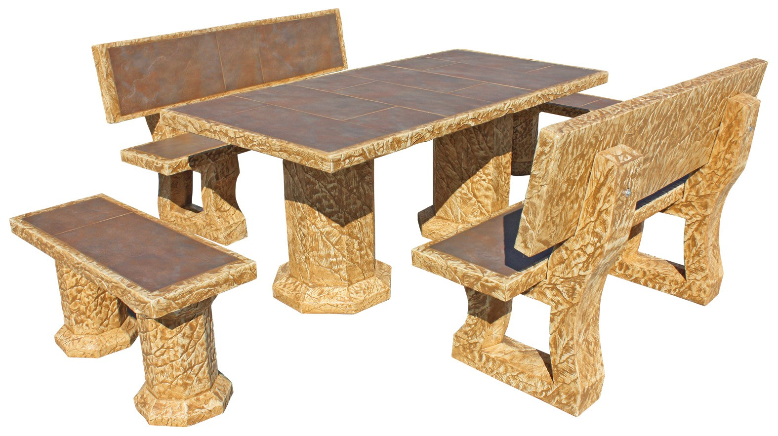 Mesa de jardin rectangular con azulejos ragazzo zinc - Mesas con azulejos ...