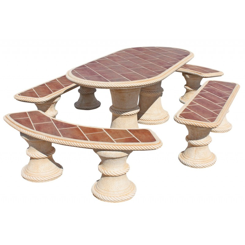 Mesa de jardin de piedra con azulejos y 4 bancos modelo for Mesa y banco de jardin