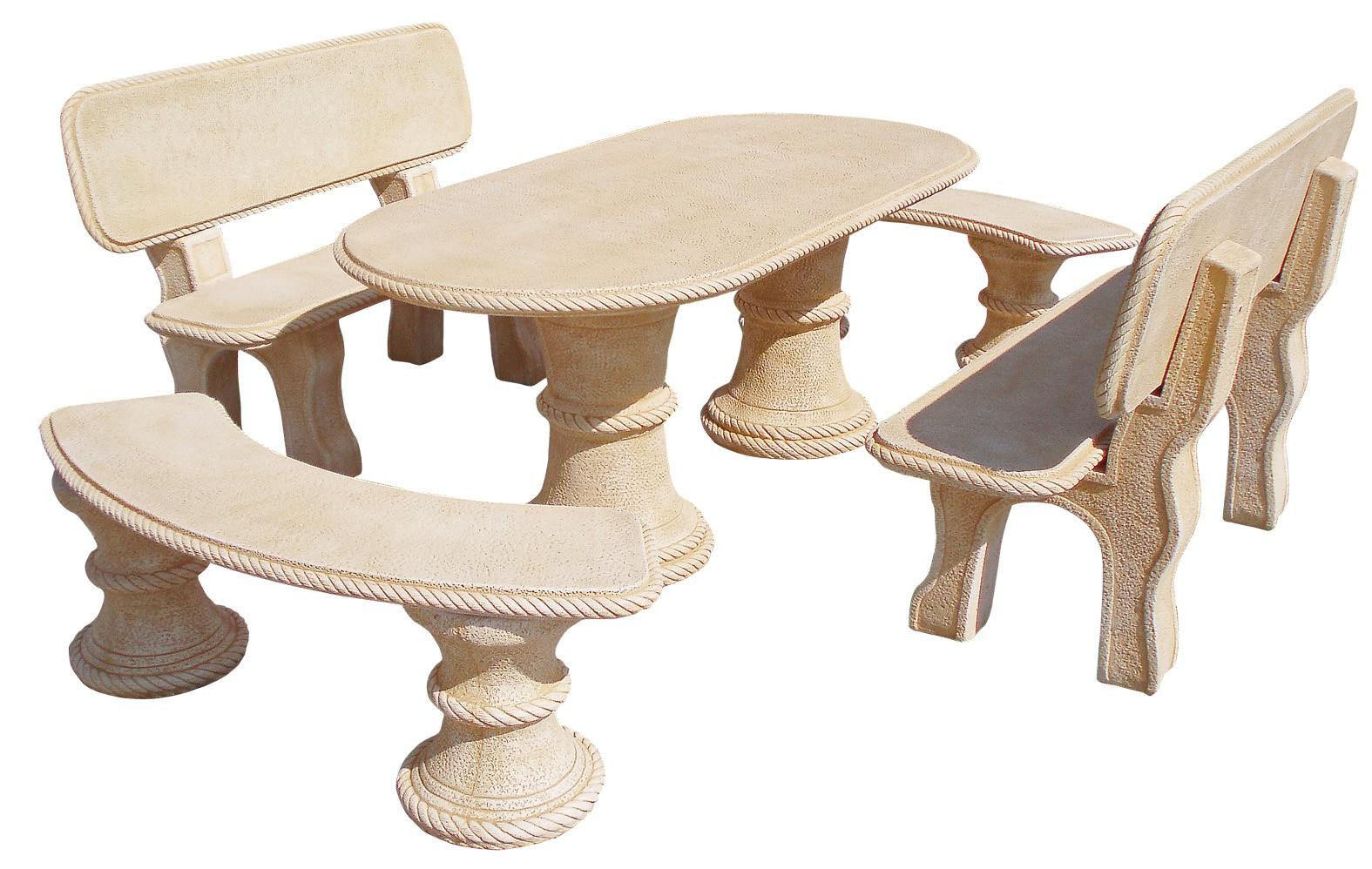 Mesa de jardin de piedra con 4 bancos modelo olmo natural for Bancos de granito para jardin