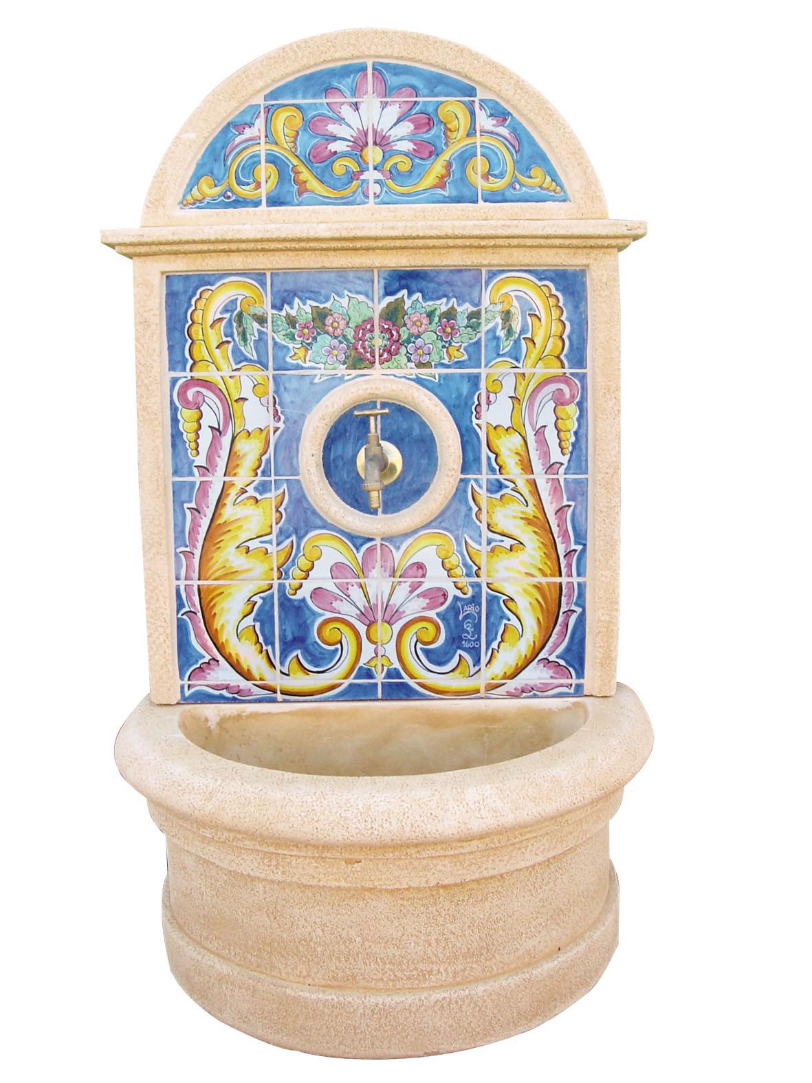Fuente de pared con azulejos fontibre comprar fuentes - Fuentes de pared de piedra ...