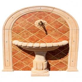 Fuente de pared con azulejos SIMBAL tostado novel