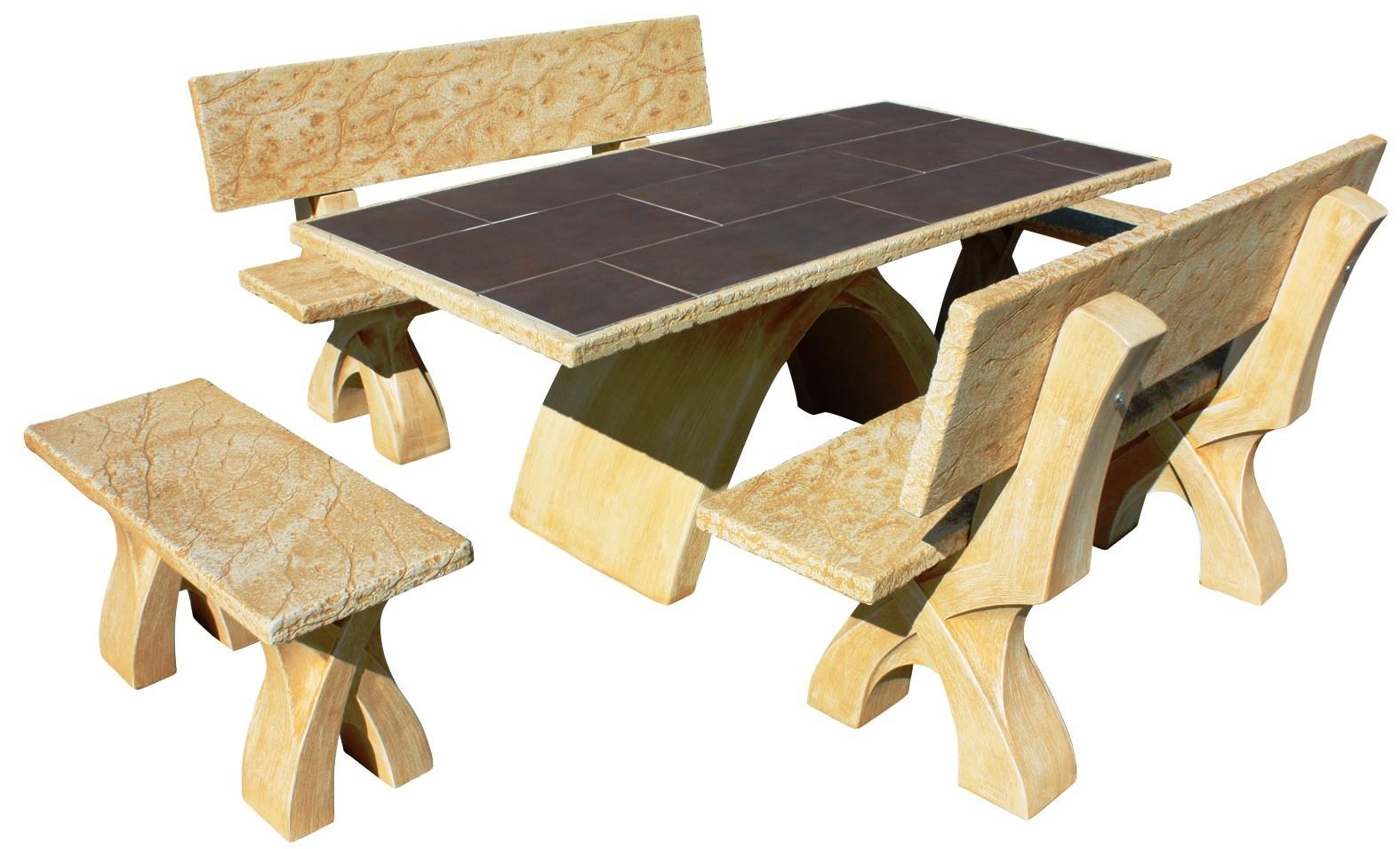 Mesa de jardin astral con azulejos de piedra artificial for Piedra artificial jardin