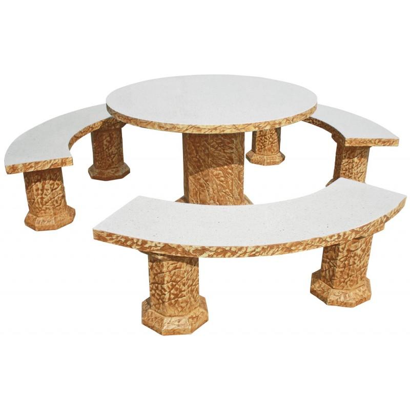 Mesa de jardin redonda senior acabado natural pulido caramelo for Mesa de jardin de piedra