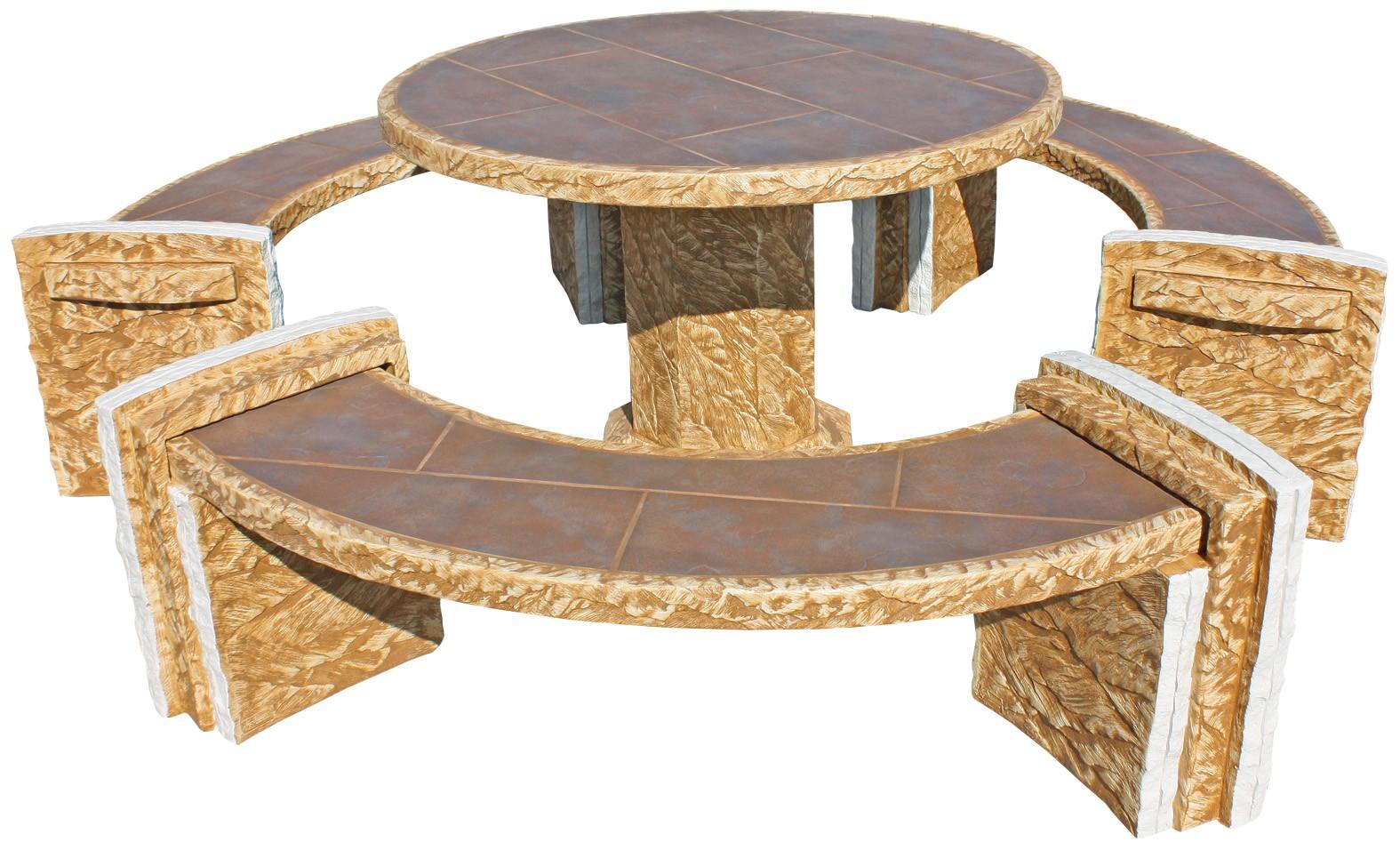 Mesa de jardin redonda arsen con azulejos gres ocre - Mesas de jardin de piedra ...
