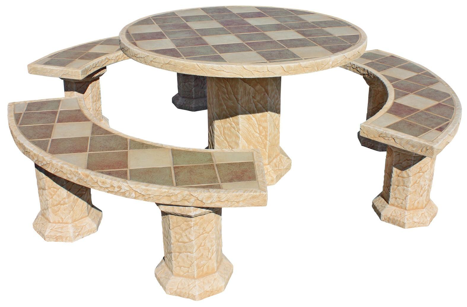 Mesa de jardin redonda senior con azulejos gres ocre for Fuentes jardin baratas