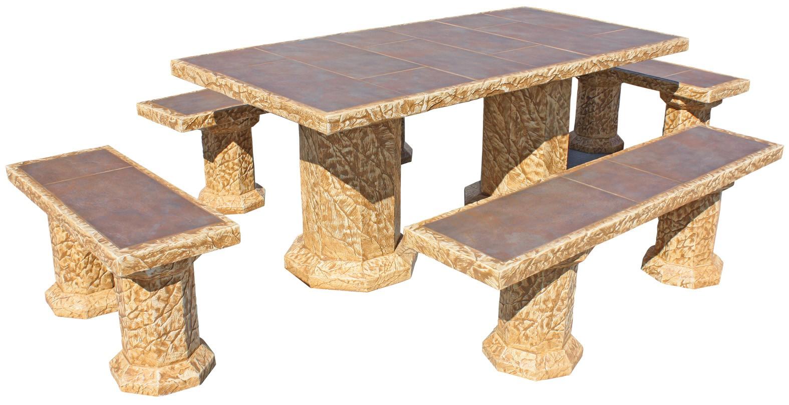 Mesa boavista con azulejos y 4 bancos sin respaldo zinc for Bancos de granito para jardin