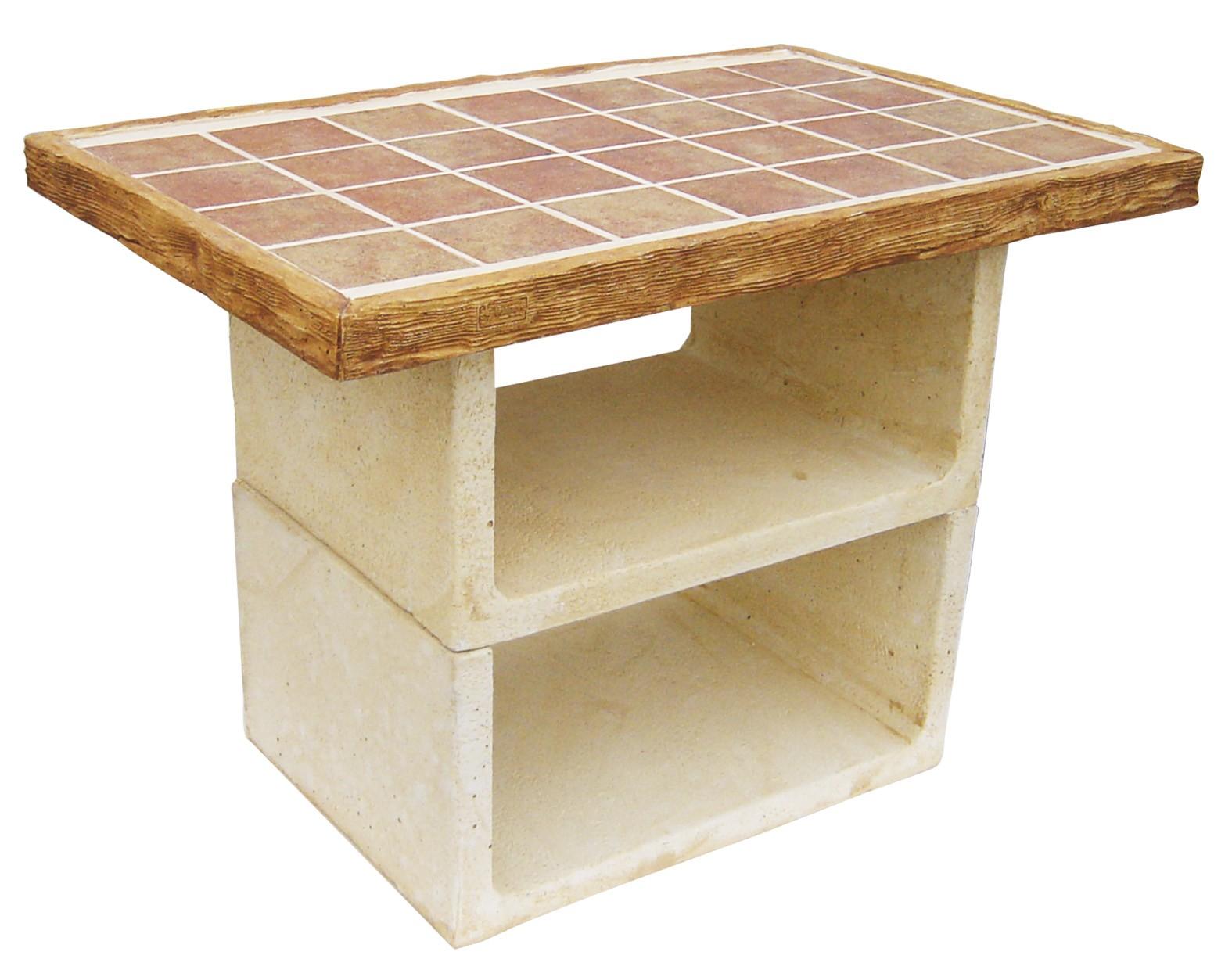 Mesa auxiliar para barbacoa barby modelo malibu de piedra for Barbacoas para jardin