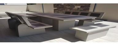 Mesas de piedra artificial para jardín